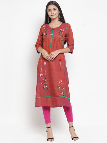 Aujjessa Maroon Embroidered Straight Kurta