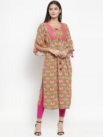 Aujjessa Olive Green Multi Embroidered Printed Straight Kurta