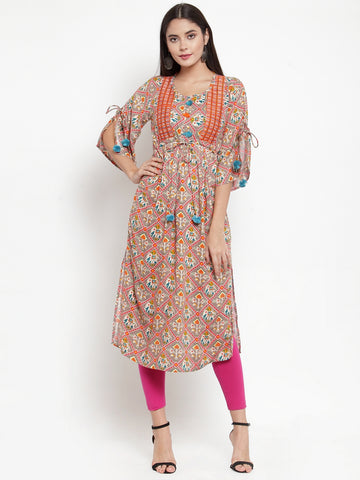 Aujjessa Grey Multi Embroidered Printed Straight Kurta