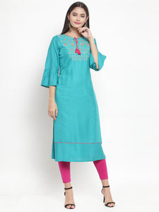 Aujjessa Turquoise Embroidered Straight Kurta