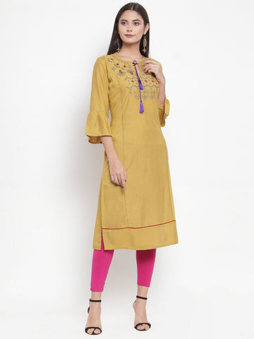 Aujjessa Beige Embroidered Straight Kurta