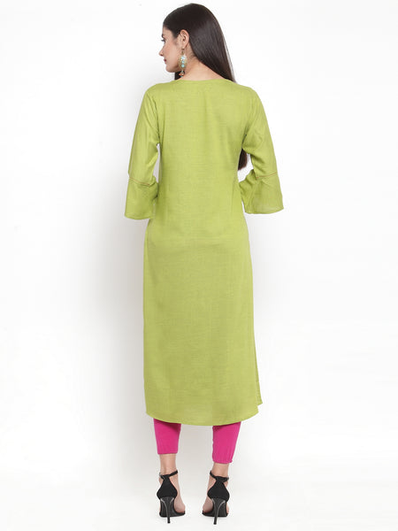 Aujjessa Green Embroidered Straight Kurta