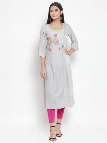 Aujjessa Light Grey Embroidered Straight Kurta