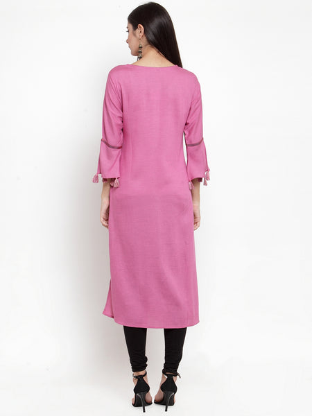 Aujjessa Mauve Embroidered Straight Kurta