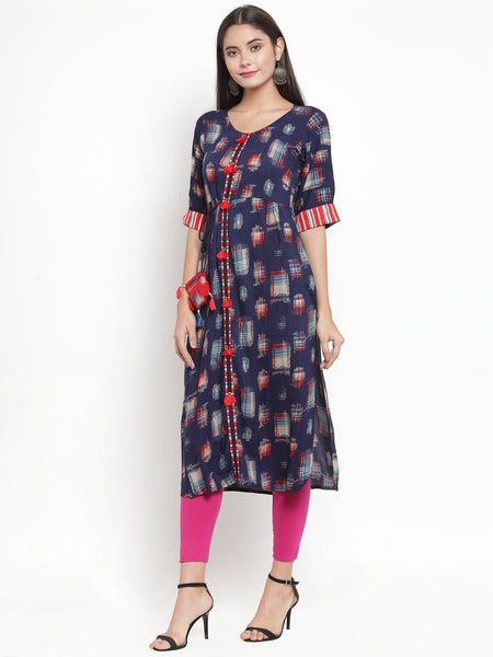 Aujjessa Blue Multi Printed Straight Kurta