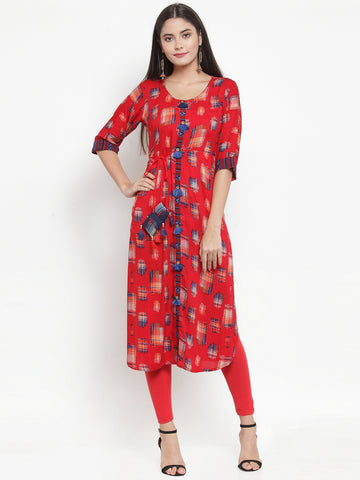 Aujjessa Red Multi Printed Straight Kurta