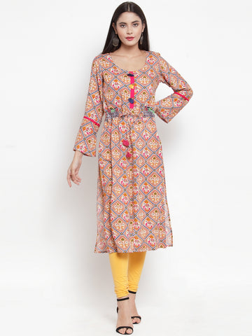 Aujjessa Earthern Brown Printed Straight Kurta