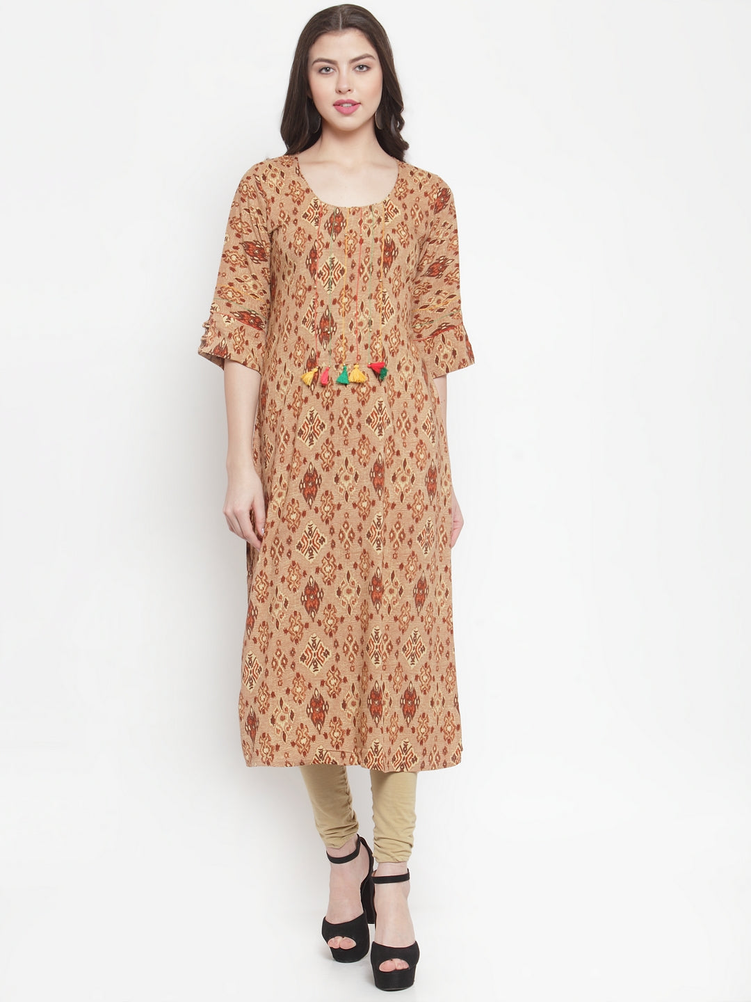 Aujjessa Pluz Size Coffee Brown Printed Rayon kurta