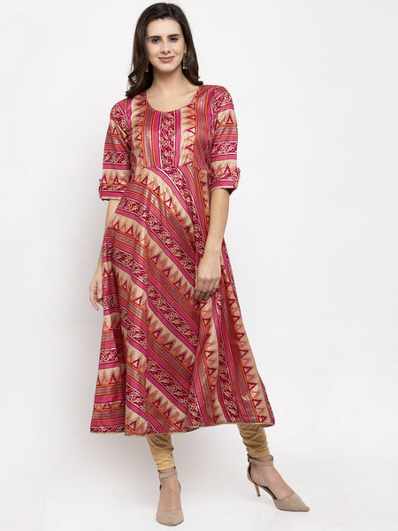 Aujjessa Fuschia Multi Flared Kurta