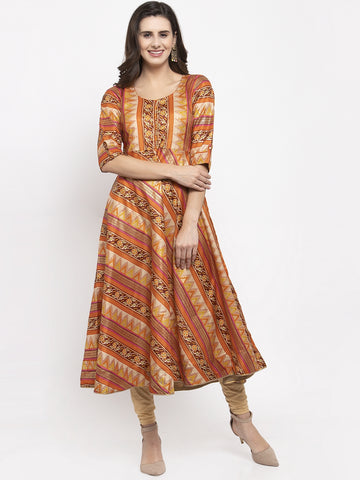 Aujjessa Rust Multi Flared Kurta