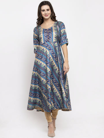 Aujjessa Blue Multi Flared Kurta