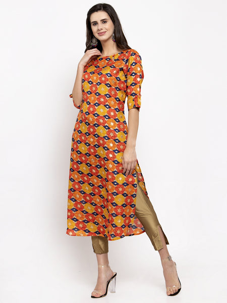 Aujjessa Orange Multi Pathani Kurta