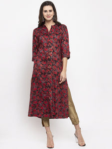 Aujjessa Brown Red Rayon Straight Kurta