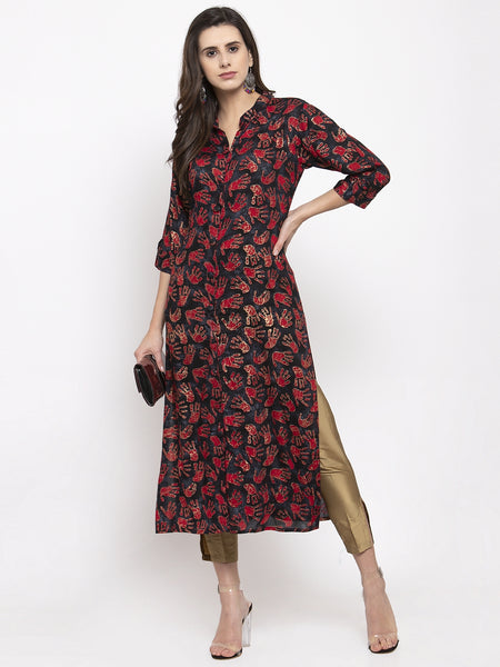 Aujjessa Black Red Rayon Straight Kurta