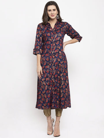 Aujjessa Navy Red Rayon Straight Kurta