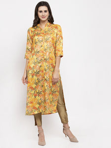 Aujjessa Yellow Multi Straight Kurta
