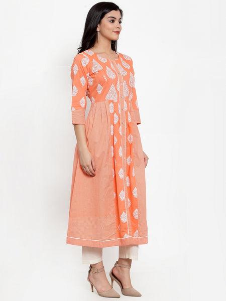 Aujjessa Peach White Cotton A-Line Kurta