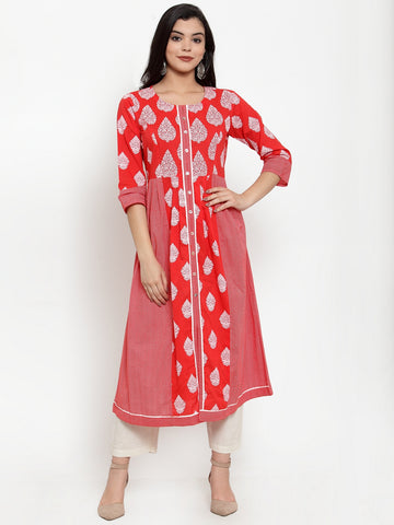 Aujjessa Red White Cotton A-Line Kurta