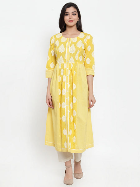 Aujjessa Yellow White Cotton A-Line Kurta