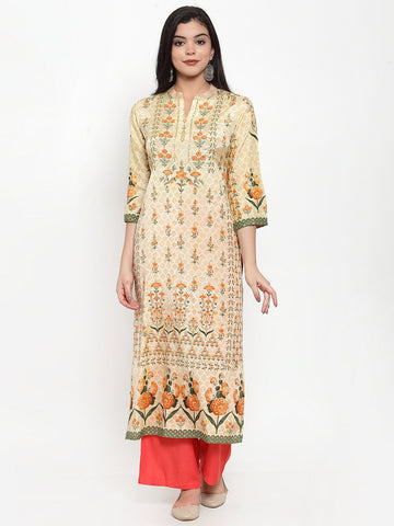 Aujjessa Lemon Multi Printed Kurta