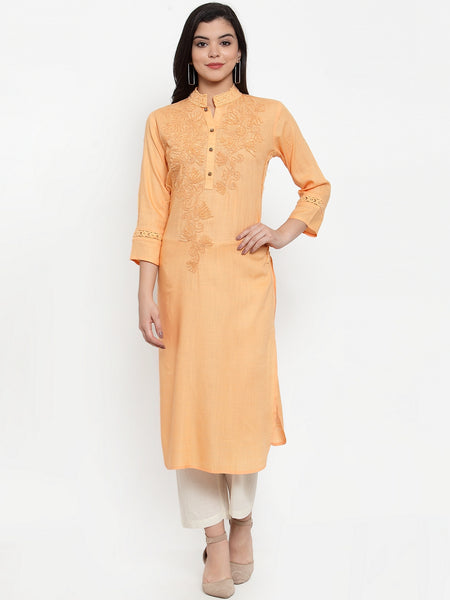 Aujjessa Peach Embroidered Kurta