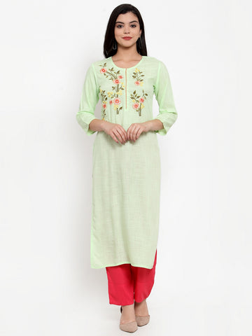 Aujjessa Pista Green Embroidered Kurta