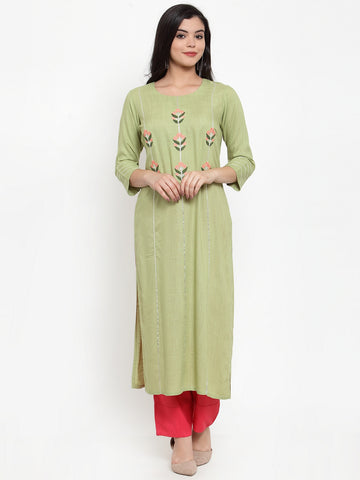 Aujjessa Olive Green Embroidered Kurta
