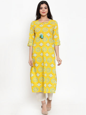 Aujjessa Yellow Printed Kurta