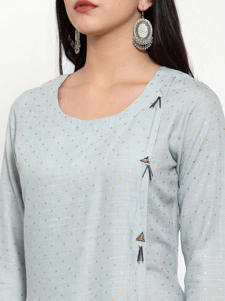Aujjessa Steel Grey Asymmetrical Kurta