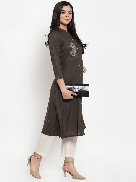Aujjessa Brown Embroidered Kurta