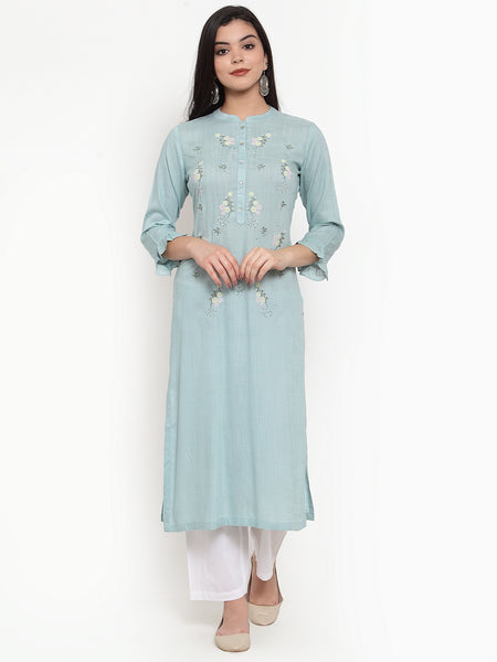 Aujjessa Dusty Blue Embroidered Kurta
