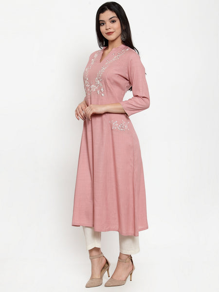 Aujjessa Dusty Pink A-Line Embroidered Kurta