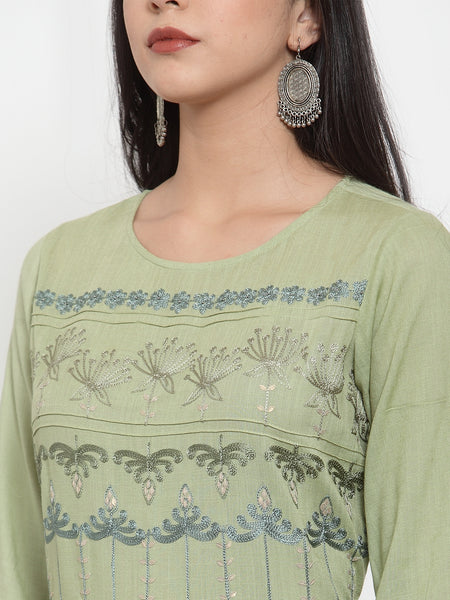 Aujjessa Olive Green Gathered Embroidered Kurta