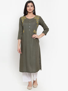 Aujjessa Military Green Embroidered Kurta
