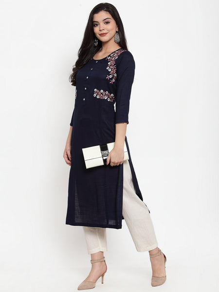 Aujjessa Navy Blue Embroidered Kurta