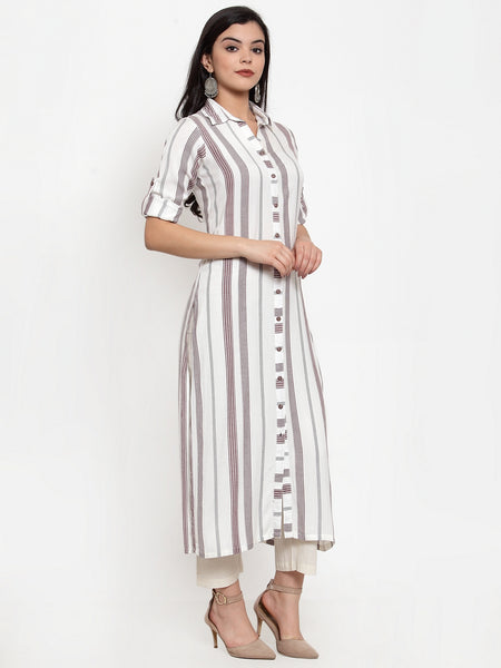 Aujjessa Off White Brown Straight Kurta