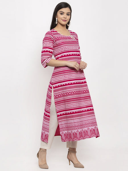 Aujjessa Magenta White Straight Cotton Kurta