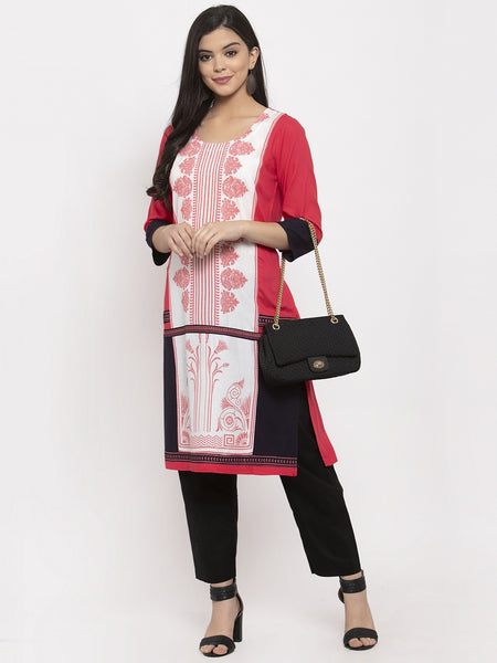 Aujjessa Peach Multi Straight Kurta