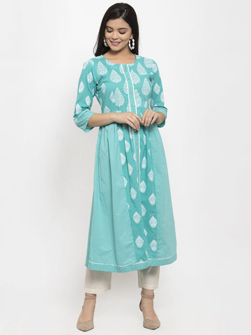 Aujjessa Sea Green White Cotton A-Line Kurta