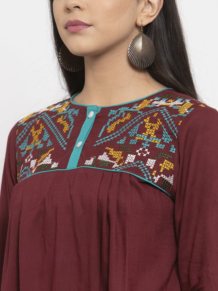 Aujjessa Brown Embroidered Rayon Kurti