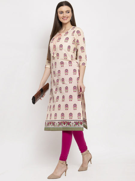 Aujjessa Cream Multi Cotton Printed Straight Kurta