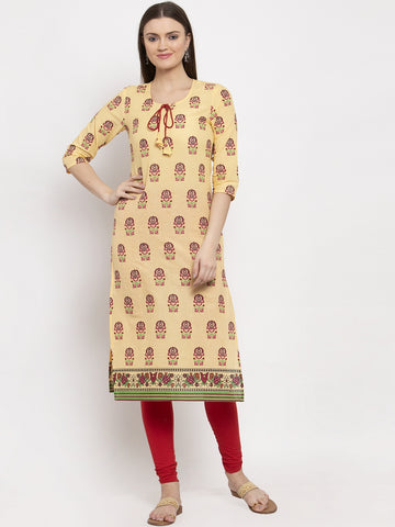 Aujjessa Yellow Multi Cotton Printed Straight Kurta