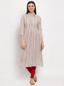Aujjessa Peach Multi Gathered Striped Kurta