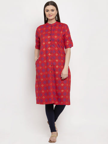 Aujjessa Red Multi Printed Front Slit Kurta