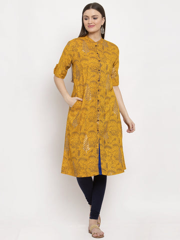 Aujjessa Yellow Multi Printed Front Slit Kurta