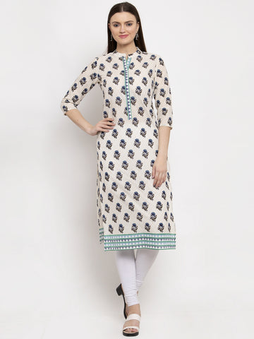 Aujjessa Cream Blue Printed Cotton Kurta