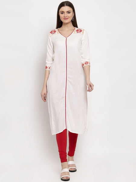 Aujjessa Cream Embroidered Kurta