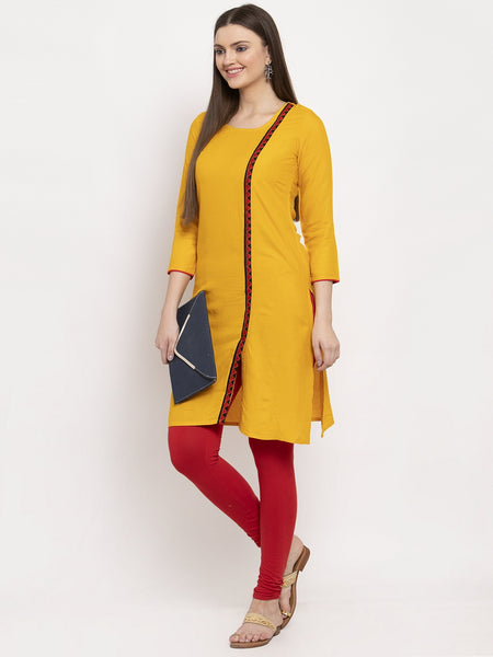 Aujjessa Mustard Embroidered Kurta