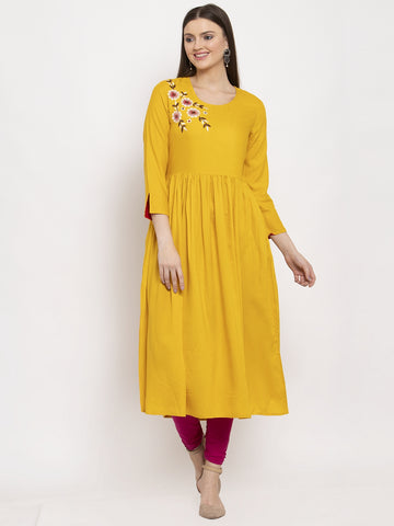 Aujjessa Yellow Gathered Embroidered Kurta