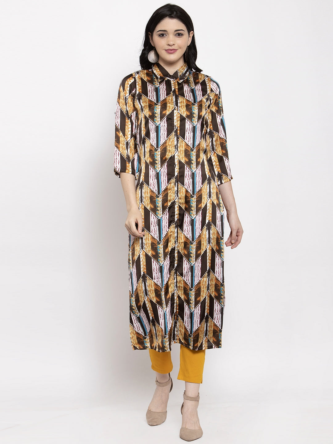 Aujjessa Brown Multi Satin Crepe Kurta